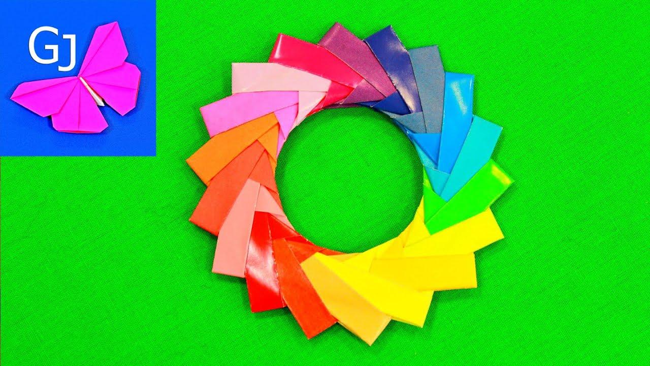 Оригами Радуга ❤️ Модульное кольцо из бумаги