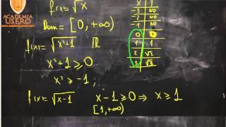 Dominio de funciones radicales o con raíces Matemáticas 1º Bachillerato Academia Usero Estepona