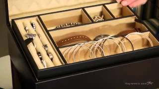 Large Leather Jewelry Box With Lift Out Tray - 12.25w X 5.125h In. - Product Review Video