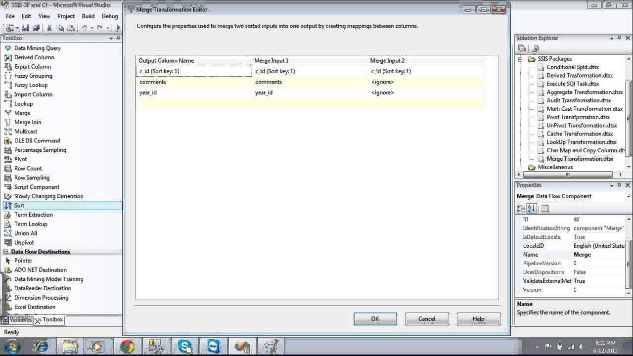 SSIS Merge and Merge Join Transformations - YouTube