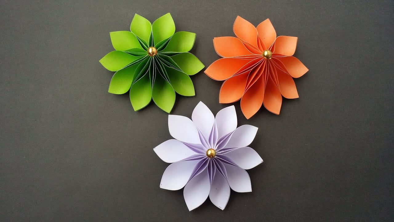Diy How To Make Easy Beautiful Flower With Colour Paper
