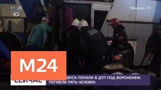 Смотреть видео Два автобуса попали в ДТП под Воронежем - Москва 24 онлайн