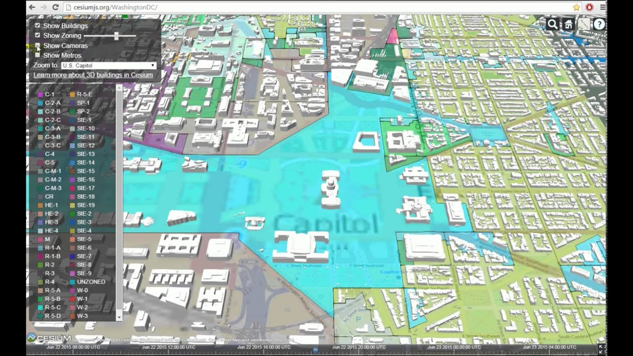 3D Streaming Maps on Cesium - Washington, D.C. - YouTube on