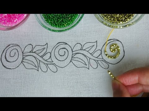 beaded hand embroidery border line stitch, easy beads work