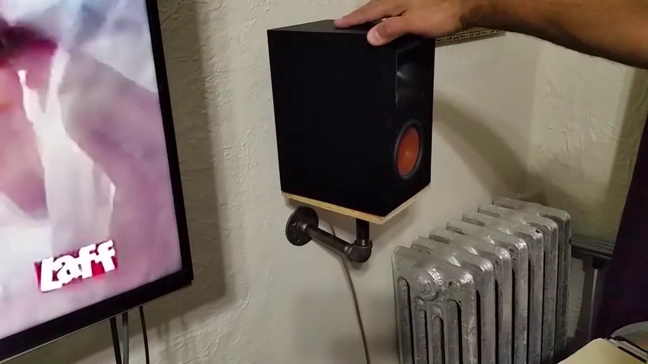 Diy Industrial Pipe Speaker Shelf That Swivel Youtube