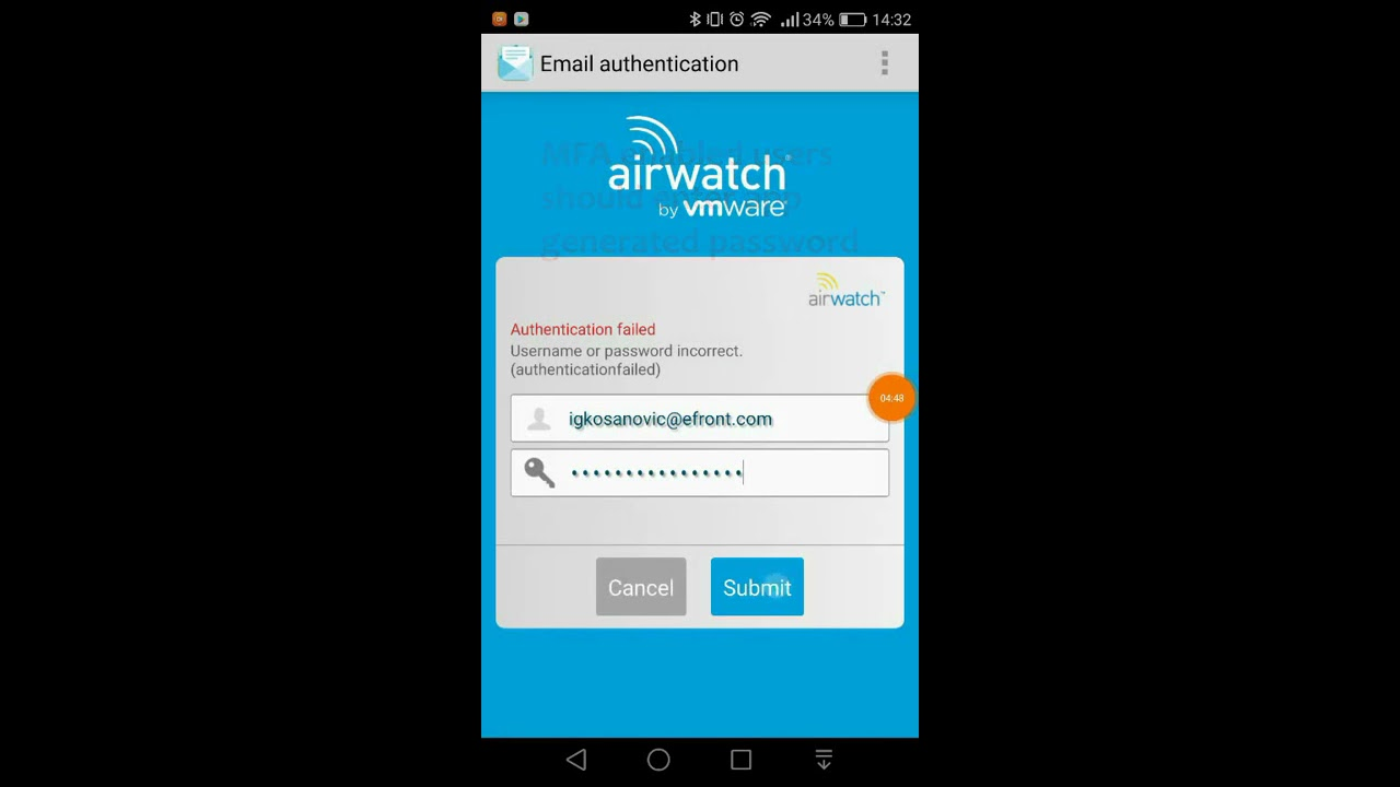 eFront AirWatch MDM Android Enrollment with Inbox
