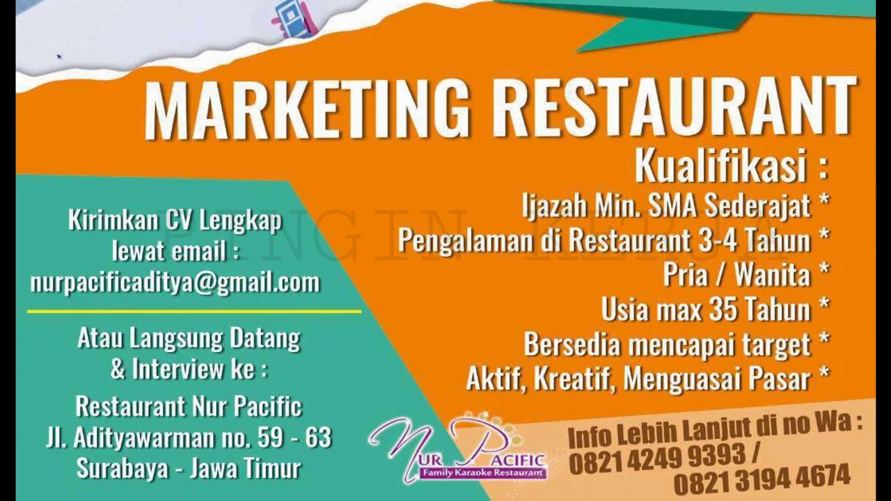Sma Sederajat Marketing Restoran Surabaya Lowongan Kerja Terbaru Juni 2020 Youtube