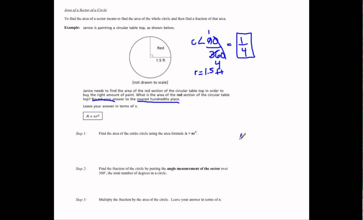 Area of a Sector and Segment (solutions, examples, worksheets, videos)