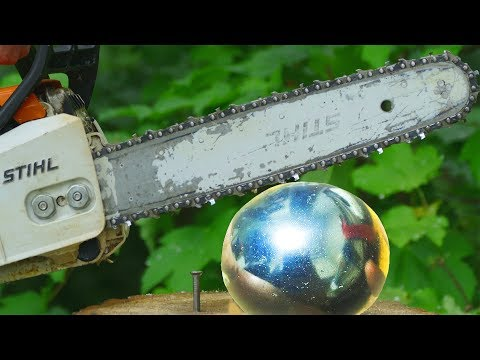 Aluminum Foil Ball Vs ChainSaw Stihl Experiment