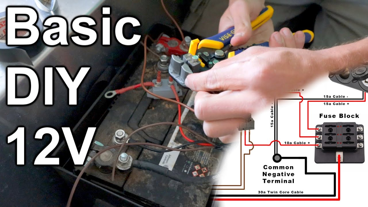 basic diy 12v wiring | fuses, wire sizing - youtube  youtube