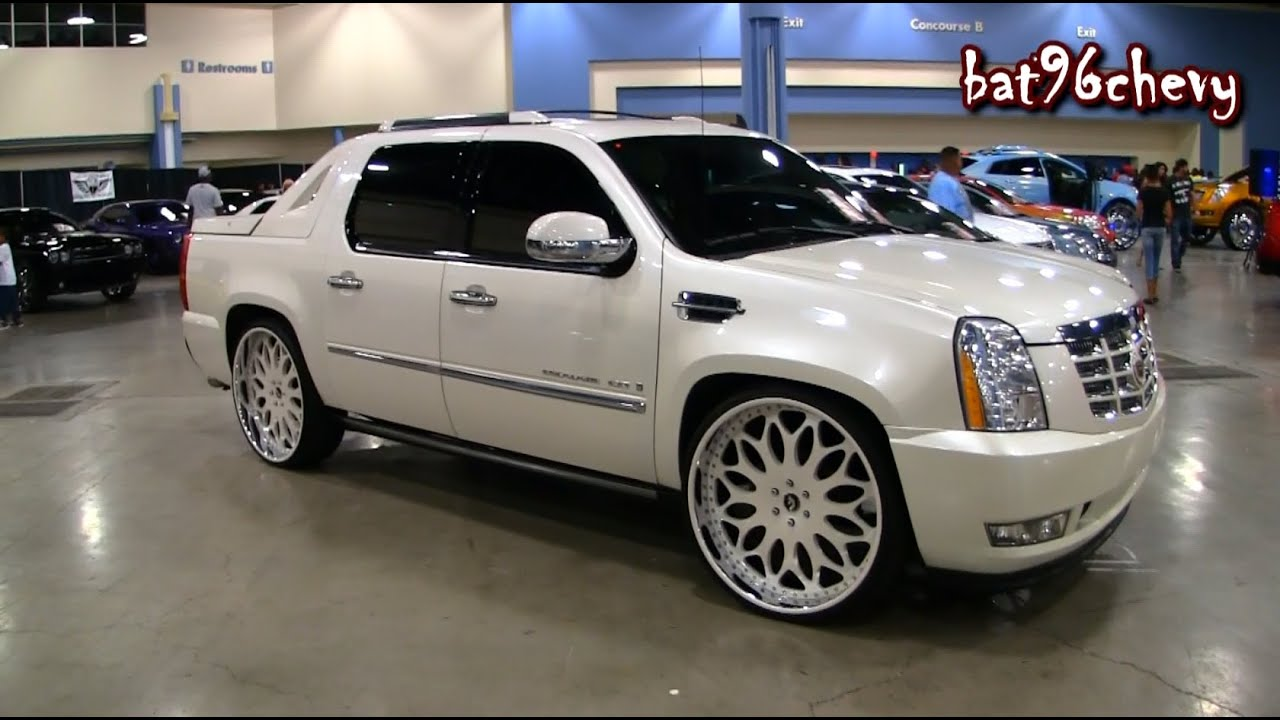 All White Cadillac Escalade Ext On 28 Forgiatos Wheels 1080p Hd You