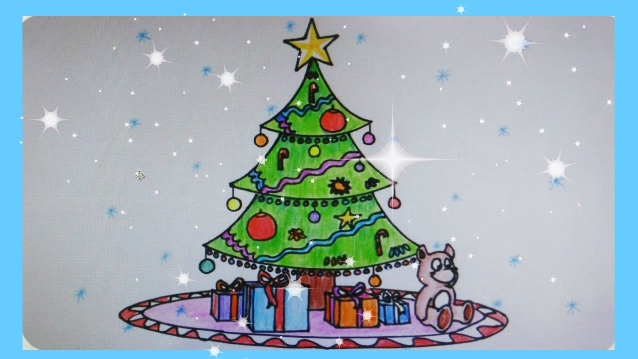 Beautiful Christmas Tree Images Part - 40: How To Draw A Beautiful Christmas Tree - YouTube