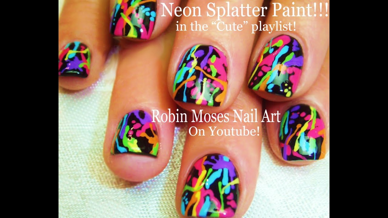 Cute And Fun Nails Diy Rainbow Paint Splatter Design Easy Short