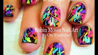 Nail Art Tutorial | Diy Rainbow Paint Splatter Design | Easy Short Nails For Beginners