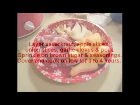 ~ cooking for one: mini crock pot sauerkraut & pork with apples & onions; a mini crock-pot meal ~