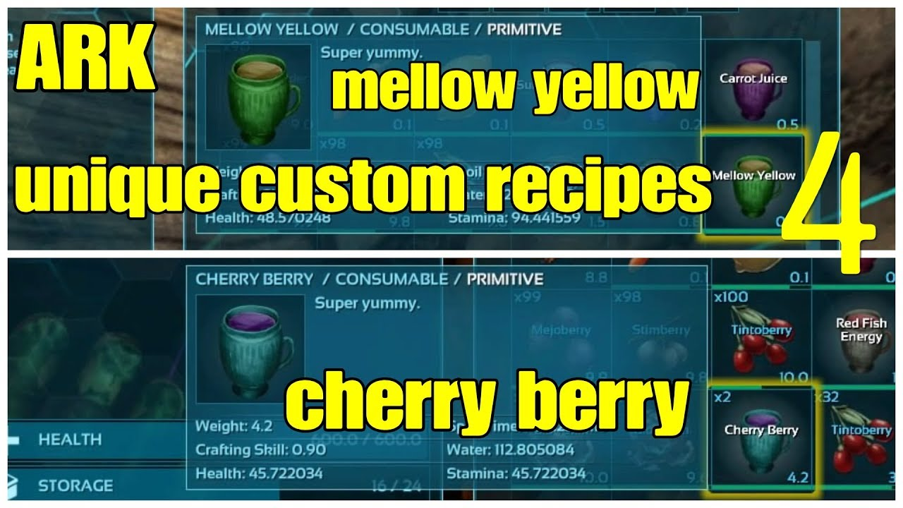 Ark Unique Custom Recipe 4 Cherry Berry Mellow Yellow Survival Drinks Potions Youtube