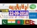 Saudi News -Today Saudi Riyal Exchange Rates (22-09-18) | India | Pakistan | Bangladesh | Nepal