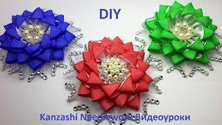DIY Заколки из атл. лент и органзы.  Украшение в стиле Канзаши.  Мастер-класс.