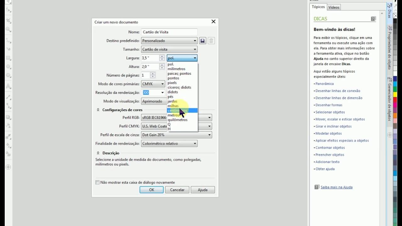 Criar e configurar um novo documento no Corel Draw