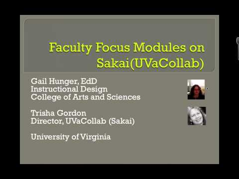 Faculty Development Modules: Development in UVaCollab (Sakai)