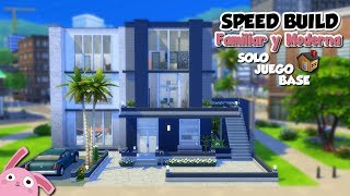 CASA FAMILIAR Y MODERNA para 8 sims! 🏡 | SOLO JUEGO BASE | Los Sims 4 | Speed build