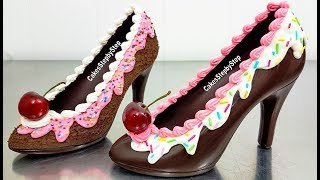 How To Make a CHOCOLATE HIGH HEEL SHOE  / Tempered Chocolate & Royal Icing by Cakes StepbyStep