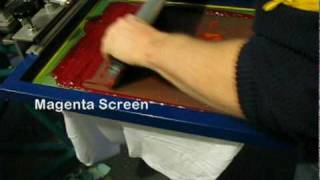 CMYK Full Color Screen printing with a push stroke on t-shirts
