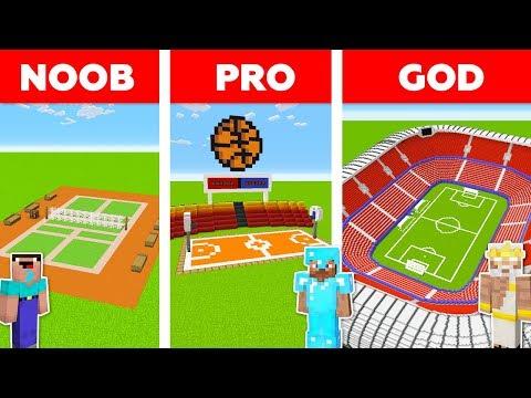 Minecraft NOOB Vs PRO Vs GOD: FOOTBALL STADIUM In Minecraft / Animation
