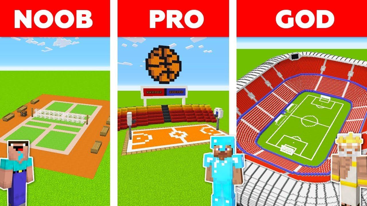 Minecraft NOOB vs PRO vs GOD: FOOTBALL STADIUM in Minecraft / Animation thumbnail