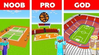 Minecraft NOOB vs PRO vs GOD: FOOTBALL STADIUM in Minecraft / Animation