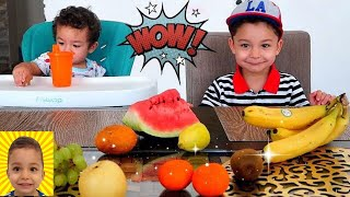 Learn Names and Colors of Fruits for kids with Ethan and Callum
