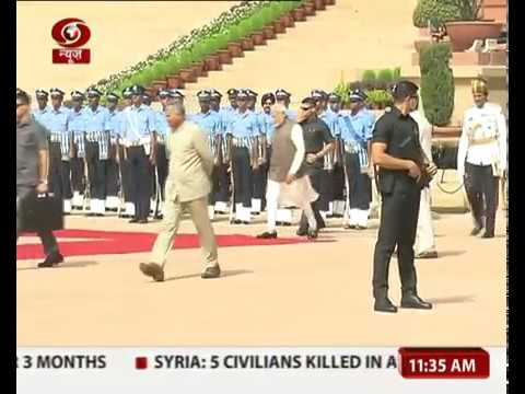 PM  checks on the IAF guard's health who fell down due to heat stroke during ceremonial reception