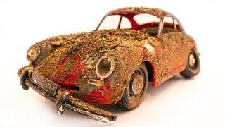Restoration Porsche 356 Super Coupe /1963/ Abandoned Damaged Model Car