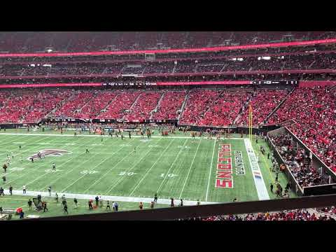 My Seat At Mercedes Benz Stadium For LA Rams vs Atlanta Falcons: 232, Row 1, Seat 19