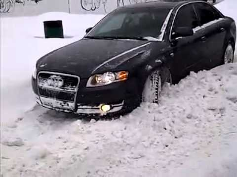 2007 Audi A4 2.0t Quattro Getting Out of Snow - YouTube
