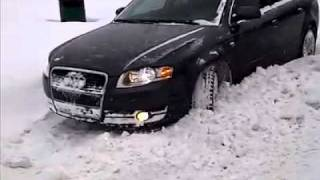 2007 Audi A4 2.0t Quattro Getting Out of Snow