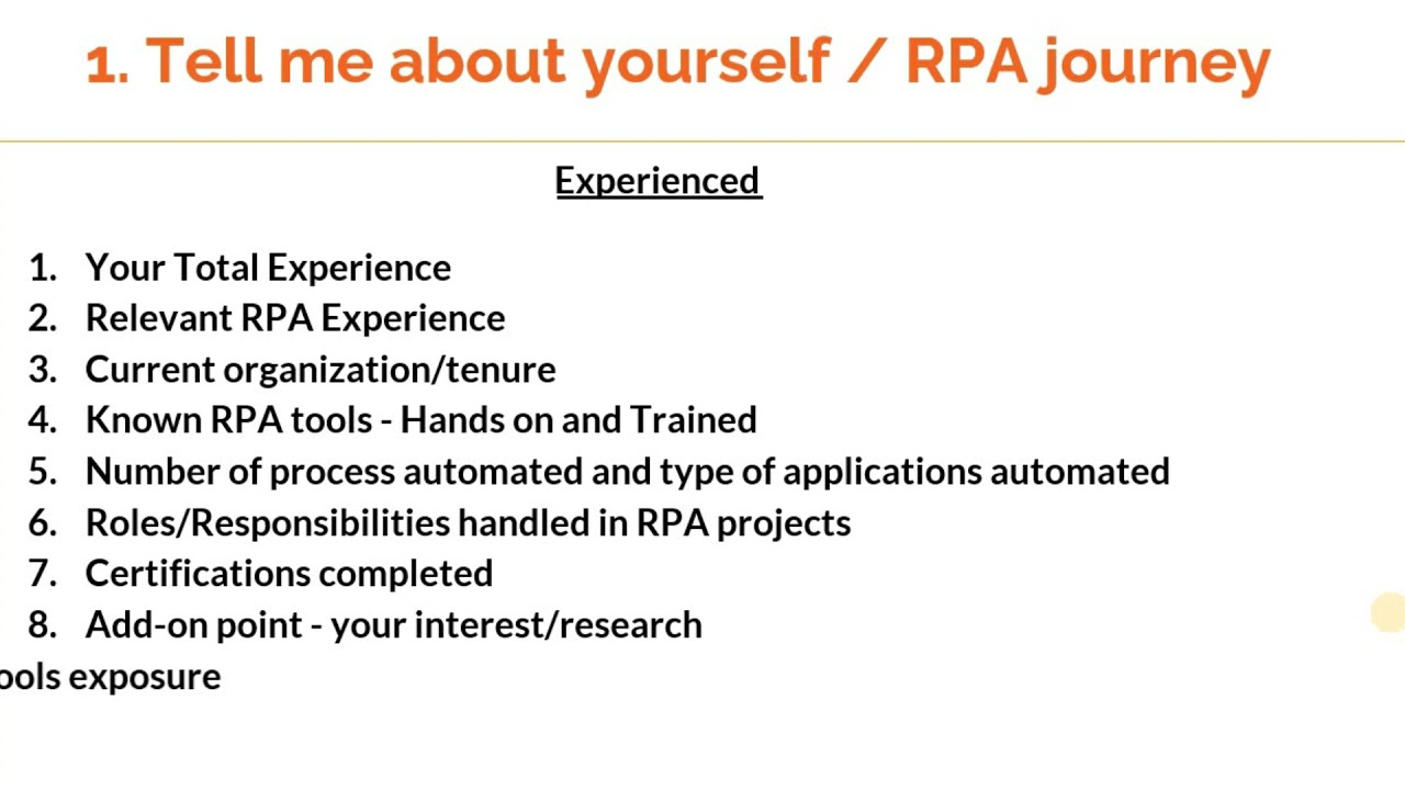 How to answer 'Tell me about yourself' in RPA interviews ?