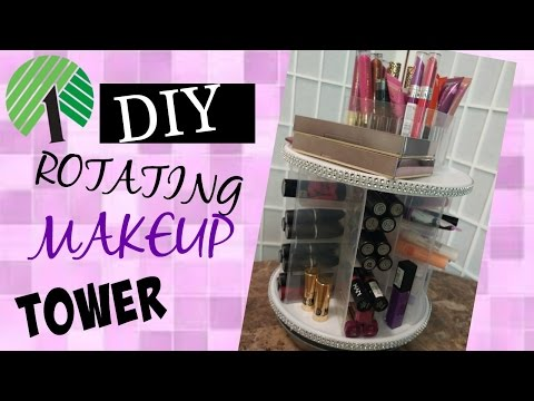 DOLLAR TREE DIY * ROTATING MAKEUP TOWER / HOLDS 100+