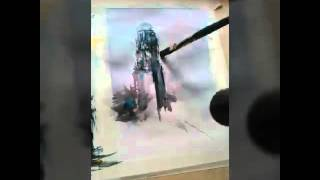 Bell Tower Watercolor Time lapse