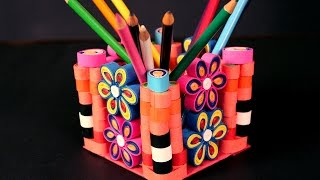 Paper Quilling Craft Tutorial # 3 - How To Make Pen Holder @ ekunji.com