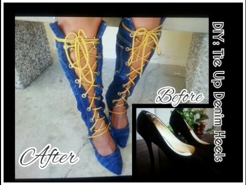 d02c3f138e34f DIY: Knee High/Tie Up Denim Boots w/Heels 💕 - YouTube