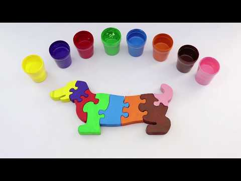 Learning colors with children. Decorate a funny dog/ Учим цвета с детьми