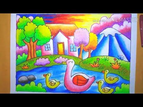 Cara Menggambar Dan Mewarnai Gradasi Pemandangan Rumah Di Tepi Danau