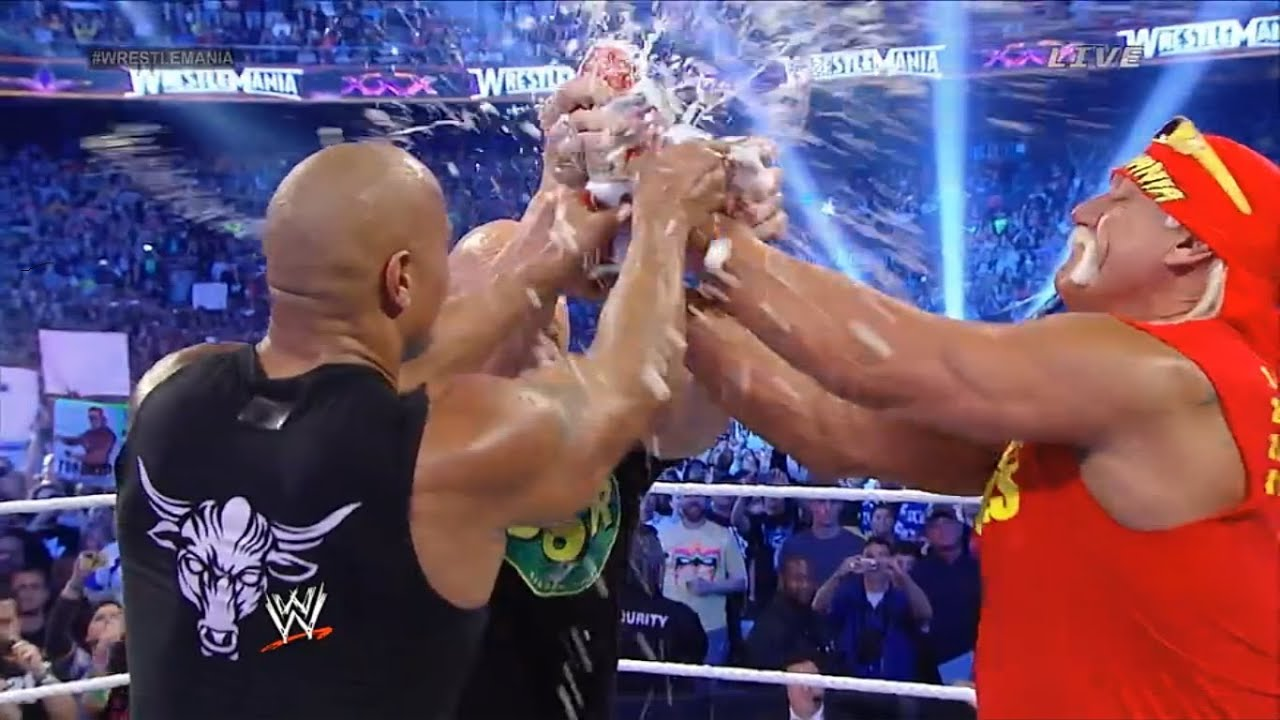 Hulk Hogan, Stone Cold, And The Rock In The Same Ring : WWE Wrestlemania 30  - YouTube