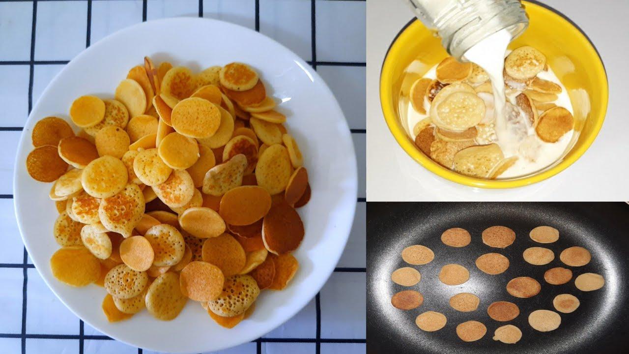 mini pancakes วิธีทำแพนเค้กซีเรียล  แป้งนุ่มหอมหวานอร่อยมื้อเช้าแสนง่าย
