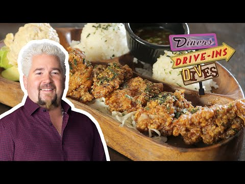 guy-fieri-tries-hawaiian-garlic-furikake-chicken-(from-#ddd)-|-food-network