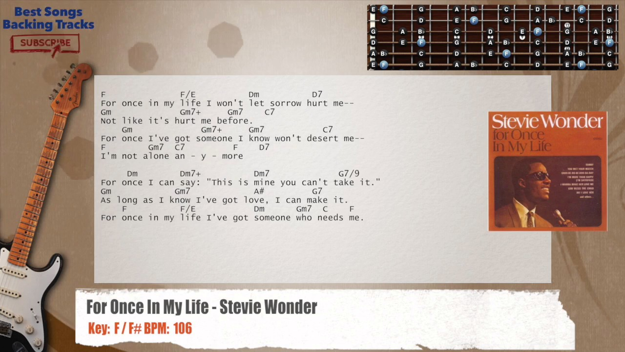 For Once In My Life Stevie Wonder Guitar Backing Track With Chords