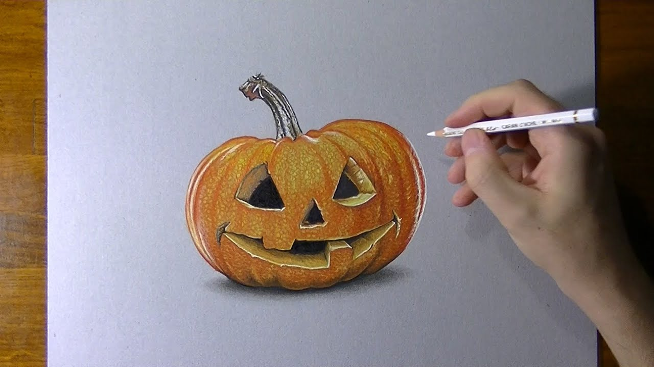 Uncategorized Drawings Of Pumpkins drawing 3d halloween carved pumpkin youtube pumpkin