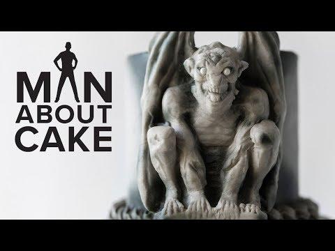 Gothic Gargoyle Cake with Concrete Fondant | Man About Cake Halloween Miniseries