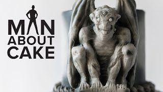 Gothic Gargoyle Cake with Concrete Fondant | Man About Cake Halloween Miniseries